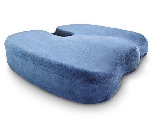 Crafty World Firm Memory Foam Seat Cushion Pad For Office Chairs, Car Seats, Wheelchairs, and More, Ergonomic Tailbone Pillow That Relieves Back Pain and Provides Tailbone Support (Blue) (Wide World Furniture)