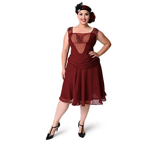 Unique Vintage Plus Size 1920s Beaded Burgundy La Plante ...