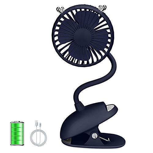 ZONSK Adjustable Clip Fan, Flexible Neck USB Fan, Battery Operated Portable Desk Fan for Stroller, Desktop, Home, Office, Outdoor, Indoor (Blue)