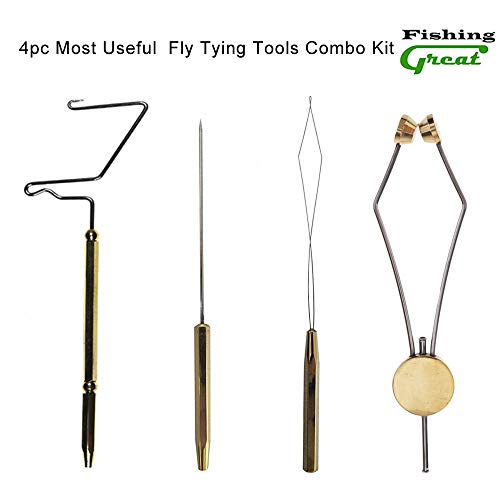 Greatfishing 4pc The Most Useful Fly Tying Tools Combo Kit Gift Stainless Steel Fly Tying Whip Finisher Knot, Fly Tying Bodkin Large, Fly Tying Bobbin Thread Holder, Disc Bobbin Threader M