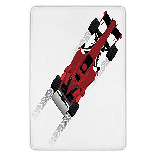 - Bathroom Bath Rug Kitchen Floor Mat Carpet,Cars,Formula Car on Speedway Championship Fast Performance Rally Strong Vehicle Decorative,Red Black Pale Gray,Flannel Microfiber Non-slip Soft Absorbent