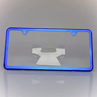 Circle Cool Blue Chrome Powder Coated Stainless Steel License Plate Slim Two Hole Frame Holder Bracket: Automotive