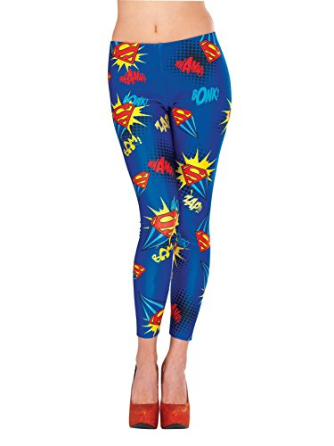 Rubie's 38027 Women's DC Comics Supergirl Leggings, Standard/One Size, Multicolor ()