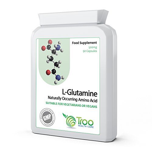 L-Glutamine 500mg 90 Capsules | High Strength Targeted Release Amino Acid...