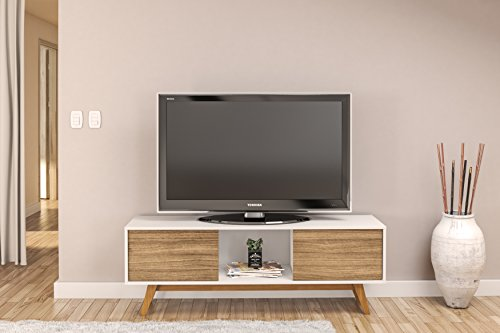 Boahaus Contempoary Tv Stand Up To 60   White   Walnut  2 Closed Compartments