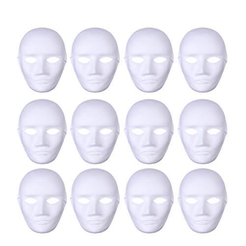 BESTOYARD 12pcs Full Face Halloween Costumes DIY Blank Painting Mask Halloween Dance Ghost Cosplay Fancy Dress Masquerade Party Mask Male