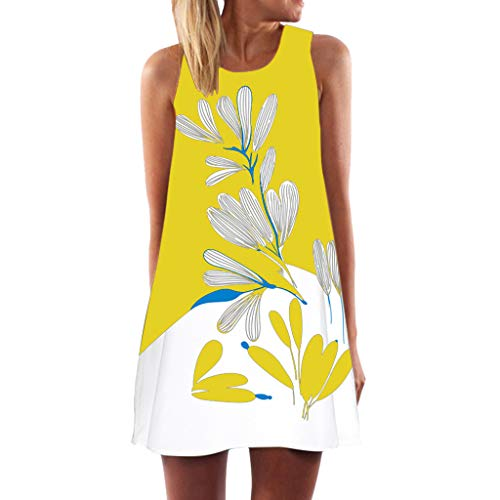 (LUNIWEI Womens Dress Summer O-Neck Boho Sleeveless Floral Printed Beach Mini Dress Casual T-Shirt Short Dress Yellow)