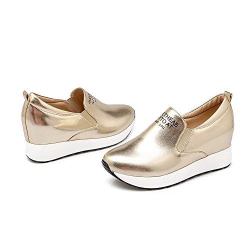 VogueZone009 Damen Rund Zehe Hoher Absatz Weiches Material Rein Ziehen auf Pumps Schuhe Golden