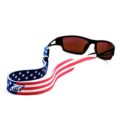 Pilotfish Sunglasses Strap - Floating Neoprene Eyewear Retainer - Sunglass Holder Strap - Custom Design (Patriot)