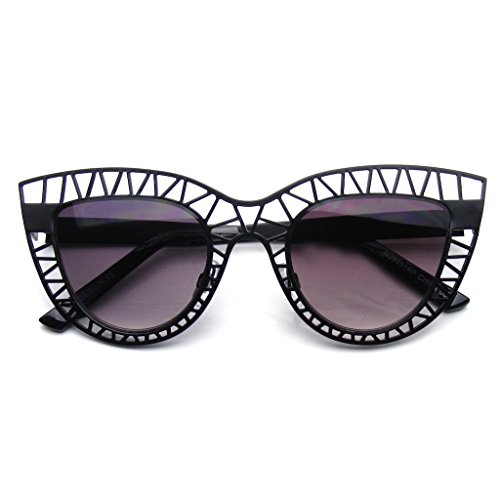 Womens Indie Fashion Trendy Cat Eye Sunglasses Metal Hollow Cut Out - Online Trendy Sunglasses