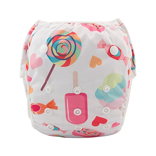babygoal Baby Girl Reusable Swim Diaper, One Size Washable Adjustable Swimming fit 0-2 Years Babies (Lollipop) FSW22 (Lollipop Diaper)