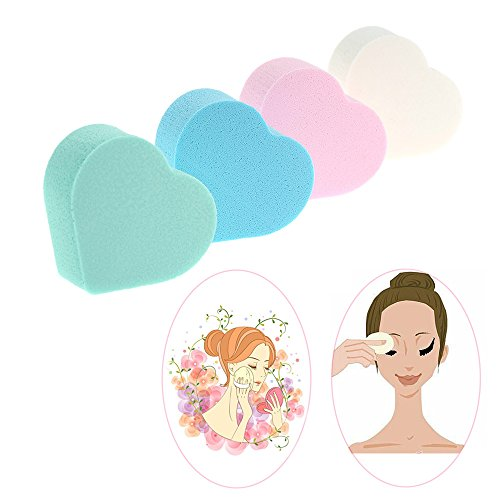 4pcs/pack Makeup Foundation Sponge Heart Shape 4 Colors Cosmetic puff Blender Blending Facial Power (0.13 Ounce Pack)