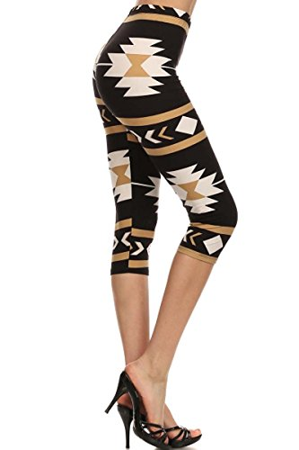 Capri Print Leggings Khaki Aztec (N2701-CA-OS)
