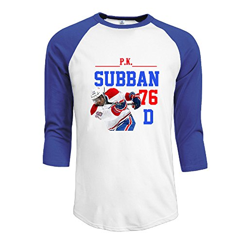 Men's PK Subban 100% Cotton 3/4 Sleeve Athletic Baseball Raglan Tee Shirts RoyalBlue US Size XL