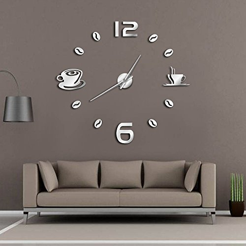 Amazon.com: The Geeky Days Cafe DIY Large Wall Clock Frameless Giant Wall Clock Modern Design Cafe Coffee Mug Coffee Bean Wall Decor Kitchen Wall Watch ...
