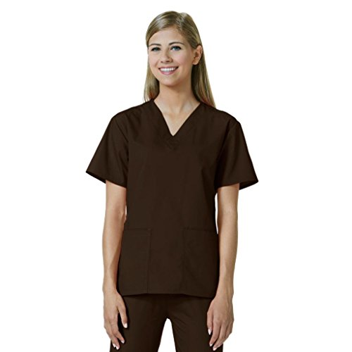 Core by Maevn Women's V-Neck Mock Wrap Solid Scrub Top X-Small Chocolate