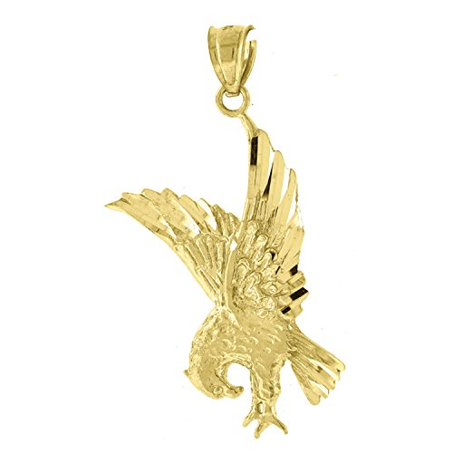 Jewels By Lux 10kt Gold DC Unisex Eagle Ht:37.2mm x W:19mm Animal Charm Pendant.