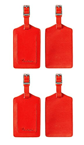 Travelambo Genuine Leather Luggage Bag Tags (red 4 pcs set)