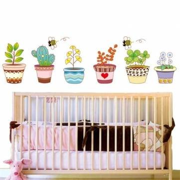 Room Decor - 6 Colorful Potted Flowers Plants Bee Wall Stickers Rural Garden Removable Art Decal Decoration Kids Room Diy - 1PCs