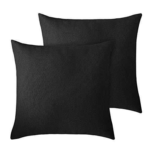 Deconovo Throw Pillow Covers Black Cushion Covers Faux Linen Pillow Cases for Bedroom 20 x 20 Inch Black Set of 2 No Pillow Insert
