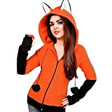 Clearance Sale! Joint Womens Hoodies, Fox Ears Hooded Sweatshirts Girls Long Sleeve Coat Autumn Cute Animal Costume Hoodie Jacket (XX-Large, Orange)