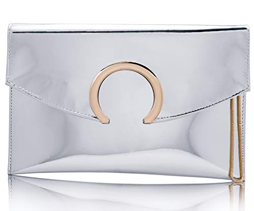 Womens Evening Bags Large Envelope Clutches Purse Metallic Patent Leather Wristlet Handbag (Silver)