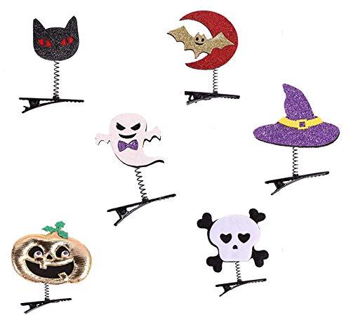 Funny Halloween Cartoon Clips (Halloween Hair Clips 6 Pieces Halloween Cartoon Hair Clips Pumpkin Bat Wing Hairpins Hair Accessories for Halloween)