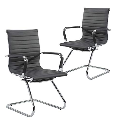 Leather Mid Back Chair - Wahson Heavy Duty Leather Office Guest Chair Mid Back Sled Reception Conference Room Chairs, Set of 2 (Black)