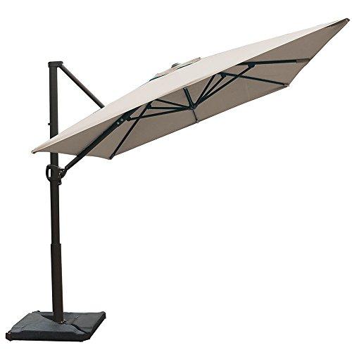 Abba Patio Rectangular Offset Cantilever Umbrella Outdoor Patio Hanging Umbrella with Cross Base, 8 x 10- Feet, Sand (Rectangular Umbrellas Patio)