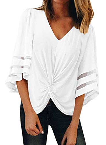(FARYSAYS Women's Summer Casual V Neck 3/4 Bell Sleeve Mesh Panel Ruched Twist Tops Loose Blouse Shirt White XX-Large)