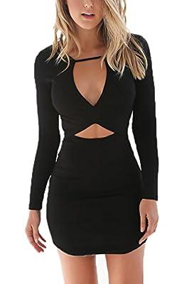 YOINS Women Mini Dress Sexy Bodycon Long Sleeves Zipper Back Black