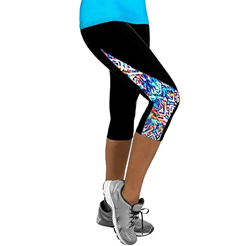 Women Yoga Pants 3/4 Slim Cropped Floral Printed Side Patchwork Sports Yoga Fitness Leggings Gym Pants Hot Sale by St.Dona (L, Black4)