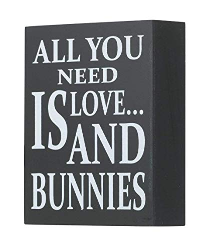 JennyGems Wooden Box Sign - Bunny Rabbit Home Decor Gift Collection - All You Need is Love and Bunnies - Bunny Quotes and Bunny ()