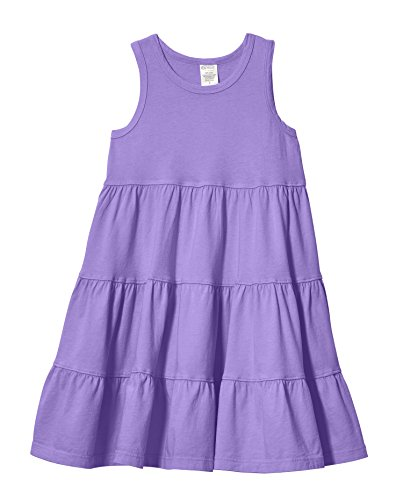 City Threads Big Girls' Super Soft Cotton Tank Tiered Dress For School Park Play and Party, Deep Purple, 10]()
