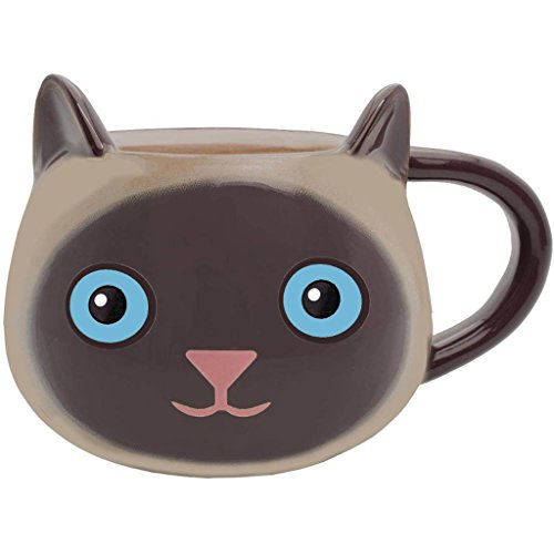 Streamline Fine Feline Ceramic Cat Coffee Cup Mug - Siamese Kitty