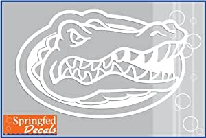 Amazon Com Florida Gators White Cut Vinyl Gator Head Logo