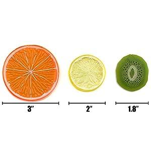 Hagao Highly Simulation Fake Slice Artificial Fruit Model Home Party Decoration Kiwifruit+Lemon+Orange-12 pcs 2