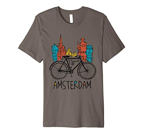 Amsterdam - Vintage Retro Bicycle Bike Netherlands Gift Premium T-Shirt