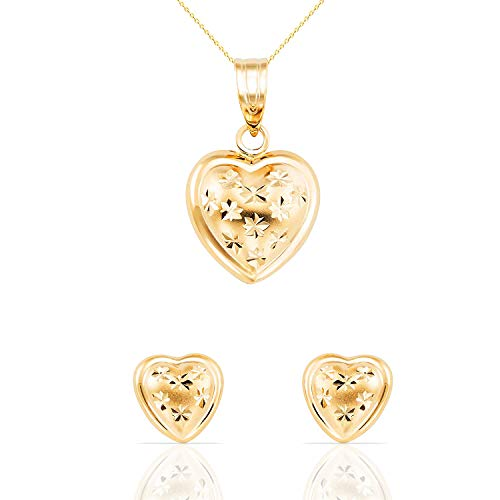 (14k Solid Yellow Gold Heart Fine Jewelry Set: Necklace and Earrings for Women, Girls and Kids (18))