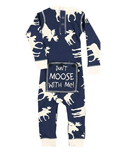 Classic Moose Blue Baby Flapjack Onsie Pajamas by