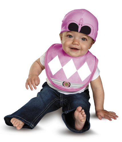 Disguise Baby Saban Power Rangers Mighty Morphin Pink Ranger Infant Bib and Hat Costume, Pink, 0-12 (Pink Power Ranger Toddler Costume)