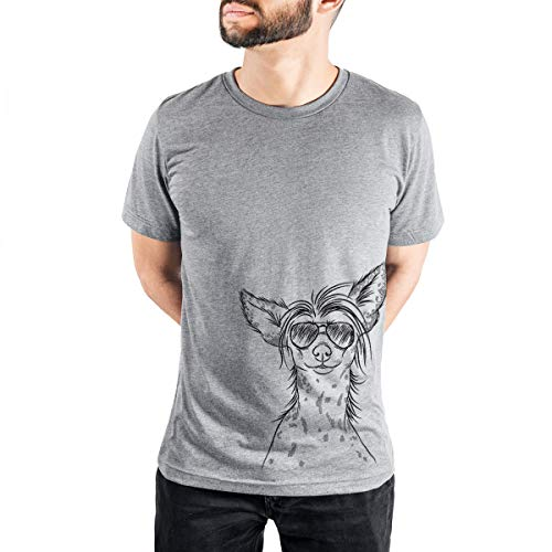 Aviator Hudson The Chinese Crested Dog Men's/Women's Triblend T-Shirt Unisex Crewneck Large Grey