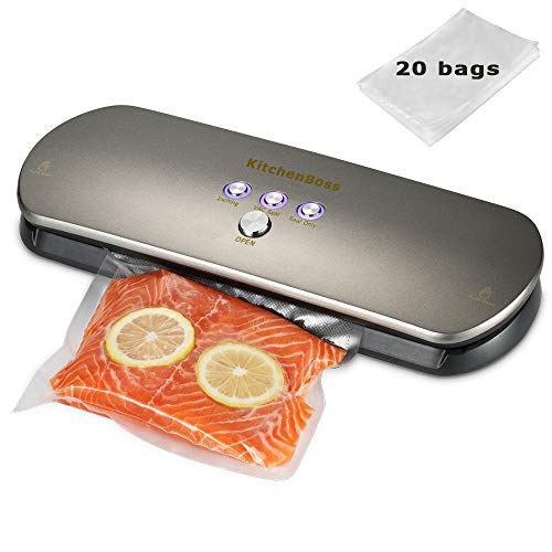Smarthome Vacuum Sealer Machine Automatic Vacuum Sealing System For Food Preservation with Starter Kit include 20PCS Food Saver Bags- Silver
