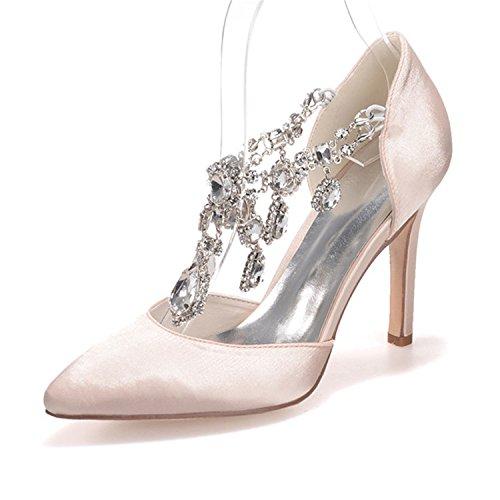 Sarahbridal Damen Hoch Absatz Abendschuhe Hochzeit Plateau Pumps mit Kristall SZXF0608-22 Champagner