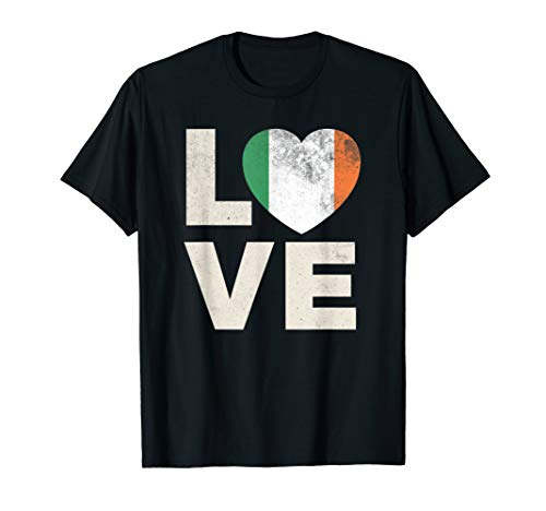 Ireland Flag Shirt Love Irish Pride Heart Gift T-Shirt