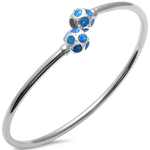 Lab Created Blue Opal Ball Cuff .925 Sterling Silver Bangle Bracelet 7.5