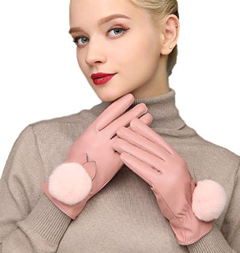 Luxury Women's Touchscreen Gloves/Texting Winter Warm PU Leather Dress Driving Cold Weather Gloves (Velvet Lining) with Fur and Black Ribbon Free Size