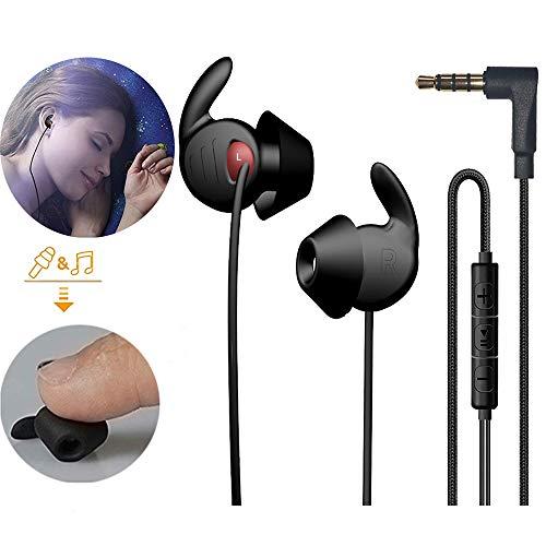 SleepEarbudsHeadphones,NoiseIsolatingsleepbudsStereoHeadsetswithMicUpgradeSofterSiliconeLightweightforInsomnia/Relaxation/Yoga/-(Black)