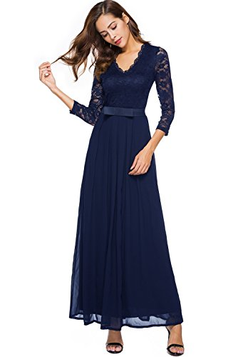 Berydress Women's Elegant V-Neck Chiffon Lace Evening Dress Belted A-Line Long Maxi Dress With Sleeves (S, (Chiffon Lace Evening Gown)