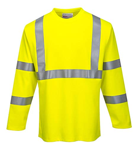 Portwest Flame Resistant ARC2 T-Shirt Hi Vis Long Sleeve T Shirt Work Safety Clothing ASTM ARC2 ANSI 3, XXL Yellow